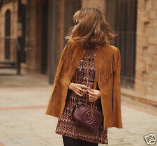 ZARA STUDIO GENUINE SUEDE LEATHER CAPE JACKET FRINGES LEDERJACKE FRANSEN SIZE M