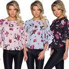 Damen Bluse Tunika Shirt Blüten Muster 34 36 38 Volants Plissee Party Büro Top