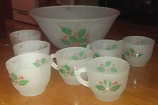 Holly 'n Frost Indiana Glass Punch Bowl & 7 Cups Mugs~Decor Crystal~Christmas