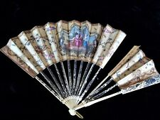 Antique Hand Painted 18 Century Family Scene Hand Fan Carved etch side Designs