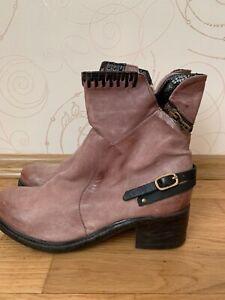 AS 98 Women's  Biker Boots Size US 11 IT 43 Pink Black  Leather