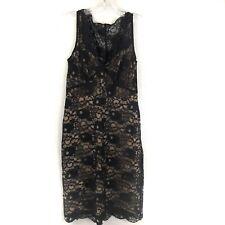 BCBG MAXAZRIA Women Lynnette Sheath Dress Sleeveless Black Lace Nude Slip Size 6