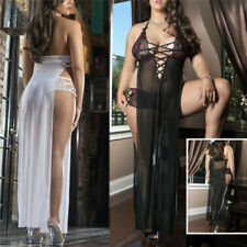 Women Underwear Erotic Sex Costumes Lace Baby Doll Lingerie Long Dress & Pant CP