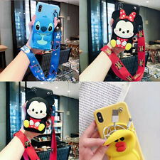 For VIVO Classic Hot Cute Cartoon Wallet Purse Lanyard Silicone Phone Case Cover
