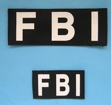 New Airsoft Cosplay FBI Chest & Back Patch With Hook Back Black