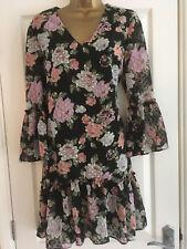 Miss Selfridge Black Floral Print Peplum Swing Bonnie Dress Size 12