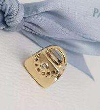 Authentic Pandora 14k Gold Diamond Handbag Charm Purse 14ct 750340D