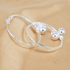 2 pcs Silver Plated Baby Bracelets Words Toddler Cuff Kid Bell Bracelet r