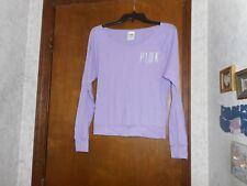 VICTORIA'S SECRET PINK LAVENDER WITH PINK IN WHITE LONG SLEEVE SHIRT SIZE XS