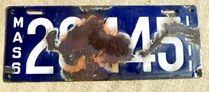 Enamel American number licence license plate Massachusetts vintage USA 1911 sign