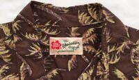 Hilo Hattie Hawaiian Shirt Men's Size XL Aloha Brown Palm Coconut Trees Cotton