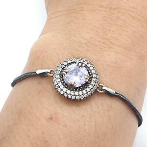 Deco 5.00ctw Amethyst & Diamond Cut White Sapphire 14K Yellow Gold 925 Bracelet