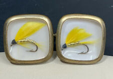 Vintage Gold Tone Glass Top Men's Cufflinks Yellow Fly Fishing Gift