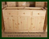 Traditional Solid Pine Handmade Free Standing Kitchen Unit Triple Base Cabinet