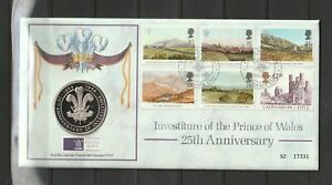 GB Coin Cover 1994 25th Anniv of Investiture Prince Charles, Caernarvon St David