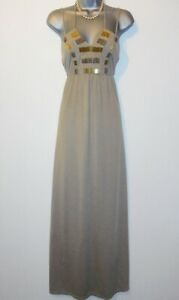 River Island Beige Caramel Embellished Beaded Day Evening Maxi Dress Small 8/10