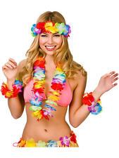 HAWAIIAN 4PC SET HULA FLOWER NECK GARLAND LEI LUAU ALOHA BEACH PARTY FANCY DRESS