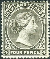 FALKLAND ISLANDS-1887 4d Grey-Black.  A lightly mounted mint example Sg 10