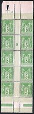 "FRANCE STAMP TIMBRE 106 "" SAGE 5c VERT JAUNE BLOC DE 10 MILL."" NEUF xx LUXE P181"