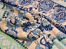 Blue, Aqua, White Patchwork-Print Viscose Knit from France!