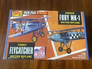 Round 2 Mo Model 1/48  Fairey Flycatcher Hawker Fury MK-1 Biplane Value Pack