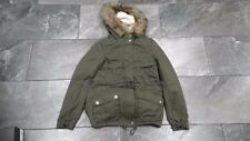 NWT H & M DIVIDED WOMENS PARKA JACKET HOOD FAUX FUR TRIM GREEN 4