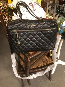 GUESS Black Quilted Satchel Bag Purse Handbag