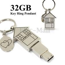 32GB Metal Silver House Design USB 2.0 Flash Stick Memory Drive Storage Gifts