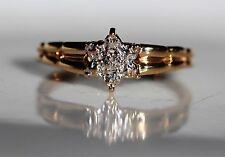 Beautiful Star Handmade Natural Diamond 10K Yellow Gold Engagement/Promise Ring