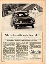 1963 CITROEN @ MONTE CARLO RALLY  ~  CLASSIC ORIGINAL PRINT AD