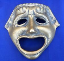 Vintage Brass Tragedy Face Mask Greek Theater Drama Ancient Replica Hanging 6.5""