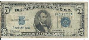 $5 Mule Silver Certificate 1934A F-A Block Fine Blue Seal  931 # F00169213A