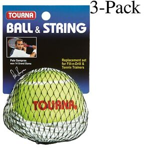 Tourna Ball & String Replacement for Fill-n-Drill & Tennis Trainers (Pack of 3)