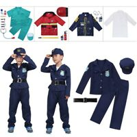 Boys Fireman Costume Surgeon Doctor Police Cosplay Book Week Fancy Dress Outfit