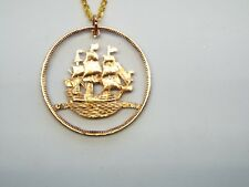 Hand Cut British Naval Half Penny cut for a Necklace on a 24 inch gold tone cha