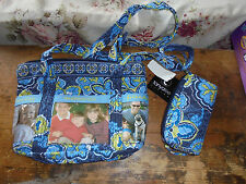 NWT Tanyalee Designs purse photo slots sunglass holder paisley print blue