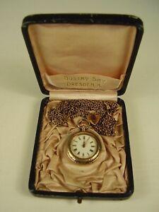 Antike Damen Taschenuhr 333 Gold mit Kette und Etui um 1900