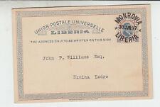 Liberia # X4 1892 Postal Card USED Monrovia to Elmiina Lodge (Monrovia)