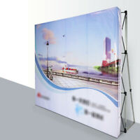 8' Pop Up Booth Tension Fabric Display Trade Show Straight Backdrop Frame 8*8FT