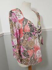 PER UNA Multicoloured Floral Print Summer Top Size 18 Cotton Blend
