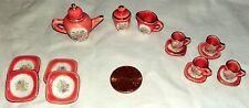 Vintage Porcelain Tea Set Collectible Miniature Hand Painted Pink Gold Gild 15Pc