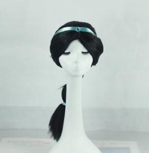 Princess Jasmine Aladdin Cosplay Black Wigs w/Ribbon For Adult Halloween Costume