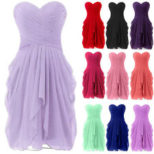 Women Chiffon Strapless Short Prom Party Cocktail Bridesmaid Wedding Dress