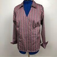 Lane Bryant Women's Size 18/20 Striped Multicolor Crossover Blouse Shirt