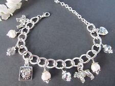 Bull Boxer Dog Charm Bracelet with Freshwater Pearls & Swarovski Crystals