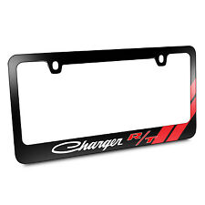 Dodge Charger RT Classic Red Stripe Black Metal License Plate Frame, Warranty