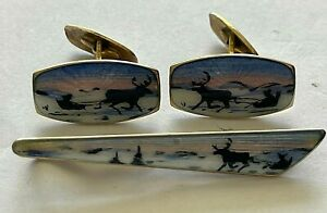 Vintage 925 Sterling enameled cufflinks and tie clip signed A. SCH