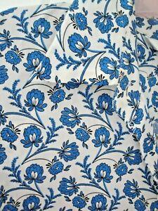 ZARA BLOUSE BNWOT SIZE L 14 16 WHITE BLUE FLORAL LADIES