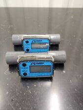 Lot Of 2 Omega Engineering Ftb692a Npt Turbine Flow Meters Sensor With Display
