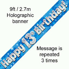 boys 13th birthday party holographic banner 13 today decoration blue banners